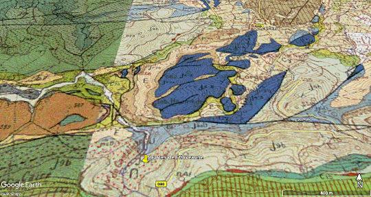 Détail de la zone de localisation des sources de l'Huveaune sur les cartes de Cuers et Aubagne-Marseille au 1/50000