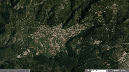 Vue satellite du poljé de Cuges-les-Pins