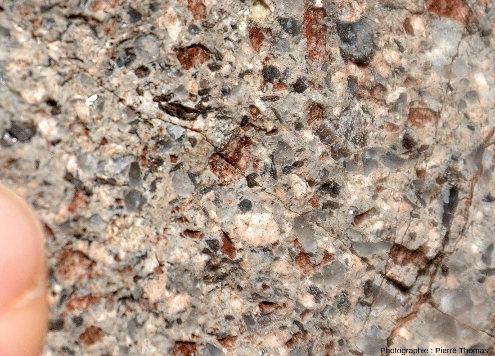 Gros plan sur une cassure fraiche de rhyolite de Saint-Victor-sur-Rhins, Loire