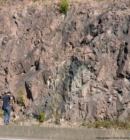 Masse de pélites gréseuses sombres au sein du microgranite