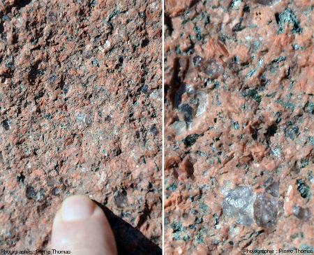 """Deux zooms successifs sur une des pierres de l'église de Bourg-de-Thizy, caractéristique des """"granites rouges"""" locaux"""