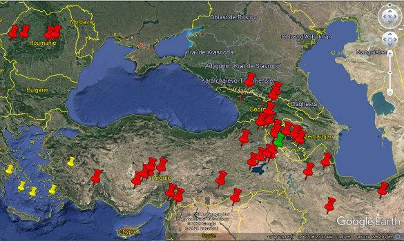 Localisation des volcans actifs au Quaternaire entre la Roumanie et l'Iran, d'après les données du Global Volcanism Program