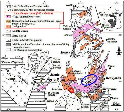 Carte géologique simplifiée du Nord-Est du Massif Central montrant la localisation des roches magmatiques acides du Viséen supérieur (340-330Ma), roches contemporaines et cogénétiques