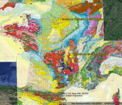 Localisation de Saint-Julien-la-Vêtre et du Musée de l'Histoire de l'Immigration sur fond de carte géologique de la France