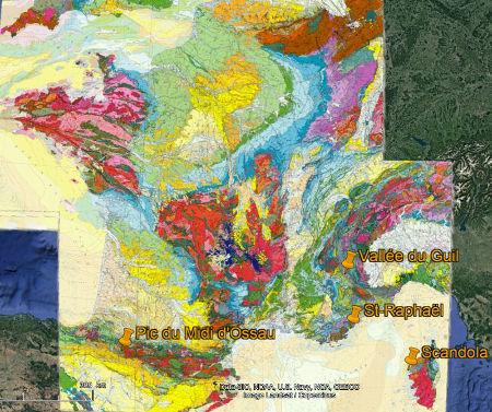 Quart Sud-Est de la carte géologique de France au 1/1000000 localisant les rhyolites du Carbonifère terminal / Permien (sur-colorées en vert-jaune) et Carbonifères inférieur (sur-colorées en vert-turquoise)