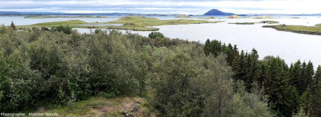 Pseudocratères s'étendant dans le lac Mývatn (vus depuis le belvédère d'Höfdi), au Nord-Est de l'Islande