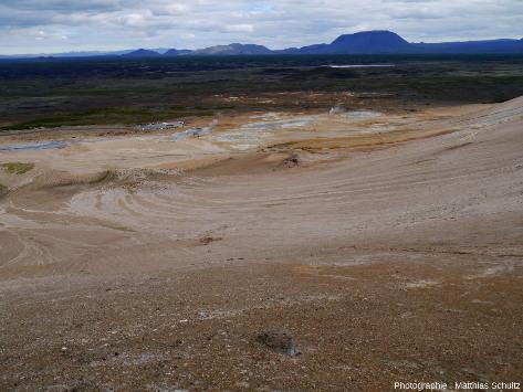 Vue du site hydrothermal appelé Hverir ou Námaskarð, depuis la crête Námafjall, 150m au dessus, à l'Est du lac Mývatn et au Sud du volcan Krafla (Islande)