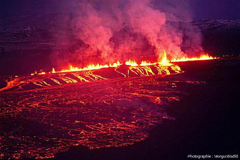 Photographie historique prise en 1977 montrant le caractère très souvent fissural de l'éruption du Krafla lors des «nouveauxfeux du Mývatn» (Islande)