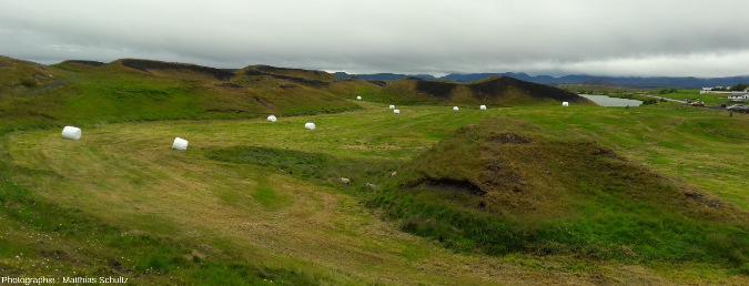 Chapelet de pseudocratères à Skútustaðir, sur la rive Est du lac Mývatn (Islande)