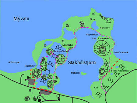 Plan des pseudocratères du site de Skútustaðir, sur la rive Est du lac Mývatn (Islande)