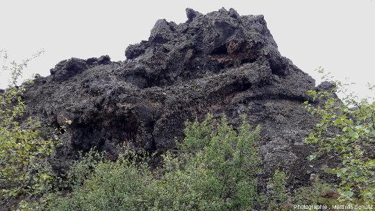 Un rocher noir du site de Dimmuborgir («les châteaux sombres»), non loin de la rive Est du lac Mývatn (Islande)