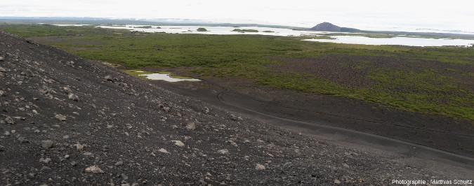 Panorama de la coulée Jeune Laxà, dans l'Est du lac Mývatn, vu depuis le cône de scories Hverfjall (Islande)
