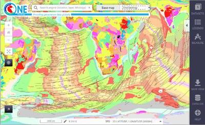 Carte géologique du monde sur One Geology