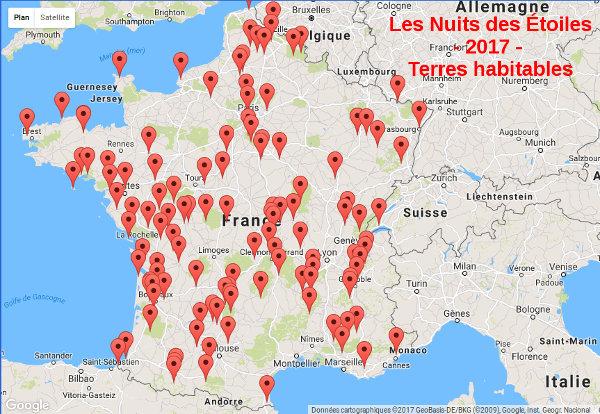 Carte des sites des Nuits des Étoiles 2017