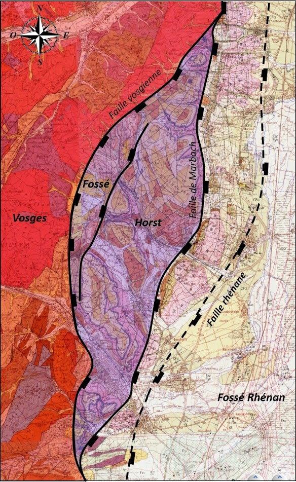 Carte structurale simplifiée du champ de fractures de Guebwiller