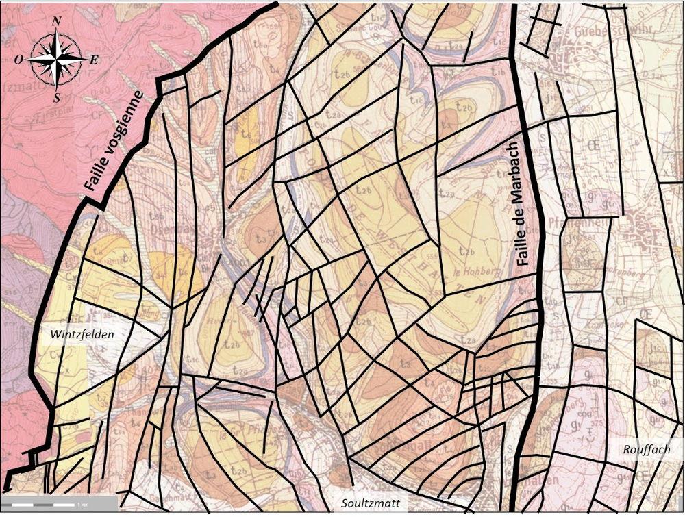 Carte structurale d'une partie du champ de fractures de Guebwiller