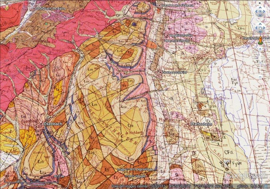 Géologie de Gueberschwihr, image 3D (vue basculée)