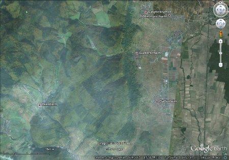 """Région de Gueberschwihr, image """"à plat"""" (vue à la verticale)"""