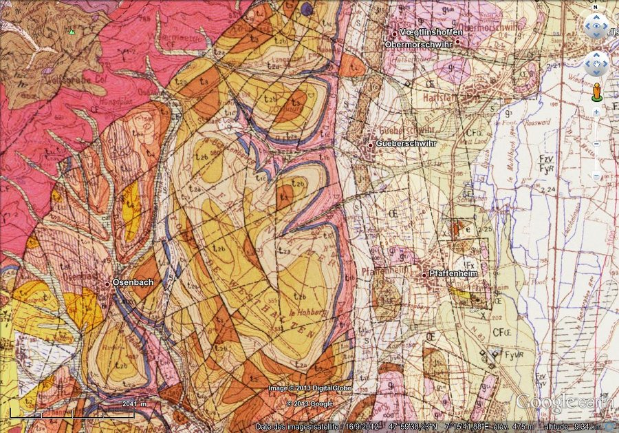 """Géologie de Gueberschwihr, image """"à plat"""" (vue à la verticale)"""
