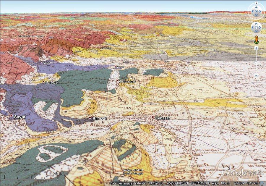 Géologie de Chateaugay, image 3D (vue basculée)