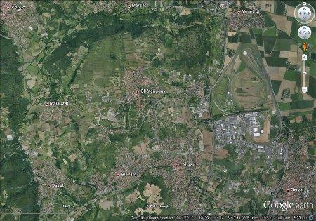 """Région de Chateaugay, image """"à plat"""" (vue à la verticale)"""