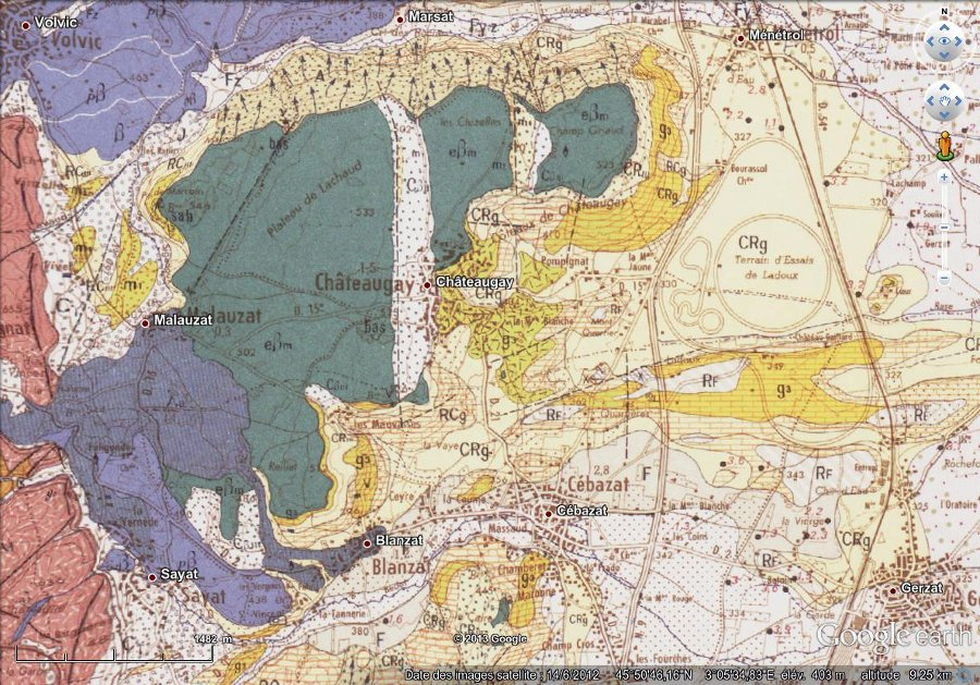 """Géologie de Chateaugay, image """"à plat"""" (vue à la verticale)"""