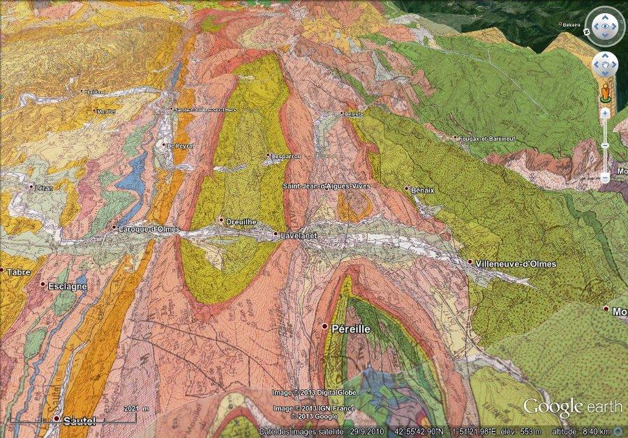 Géologie du synclinal de Lavelanet, image 3D (vue basculée)