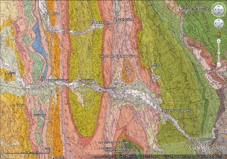 """Géologie du synclinal de Lavelanet, image """"à plat"""" (vue à la verticale)"""