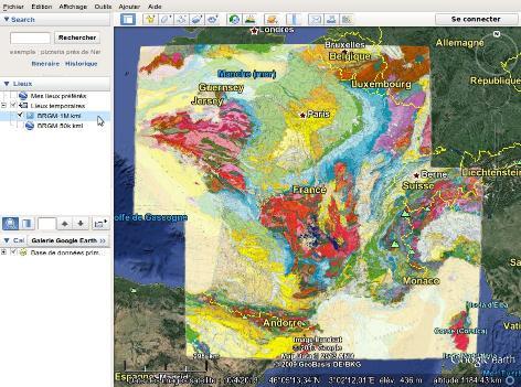"""Chargement des fichiers """"kml"""" du BRGM dans Google earth"""