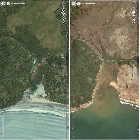 Baie de Lho Blangraya (Sumatra), détail d'un estuaire