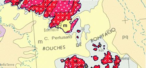 Les bouches de Bonifacio sur la carte géologique de France au 1/1000000