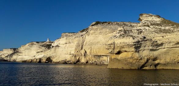 Falaises taillées dans les calcarénites du Langhien des membres de Pertusato (en bas) et de Bonifacio (en haut), entre le cap Pertusato et la ville de Bonifacio