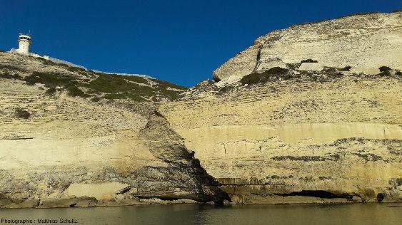 Falaises taillées dans les calcarénites du Langhien des membres de Pertusato (en bas) et de Bonifacio (en haut), entre le cap Pertusato et la ville de Bonifacio, sous le sémaphore