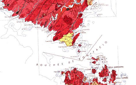Les bouches de Bonifacio sur la carte géologique de Corse au 1/250000 (carte un peu ancienne; la géologie des fonds marins n'est d'ailleurs pas représentée)