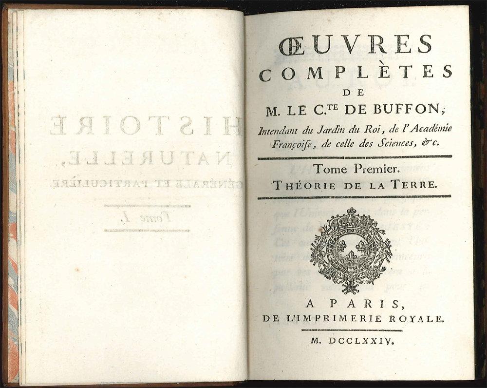 Page d'ouverture des Œuvres Complètes de M. le C.te de Buffon, 1749