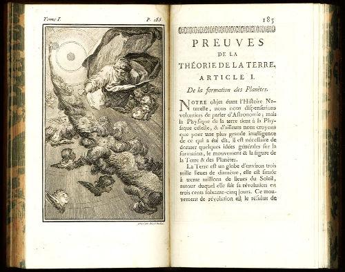 Illustration et première page des Preuves de la théorie de la Terre de Buffon, 1749