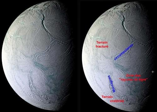 Les 3 types de terrains d'Encelade: les vieux terrains cratérisés, les terrains fracturés récents, et la zone des rayures de tigre, extrêmement jeune