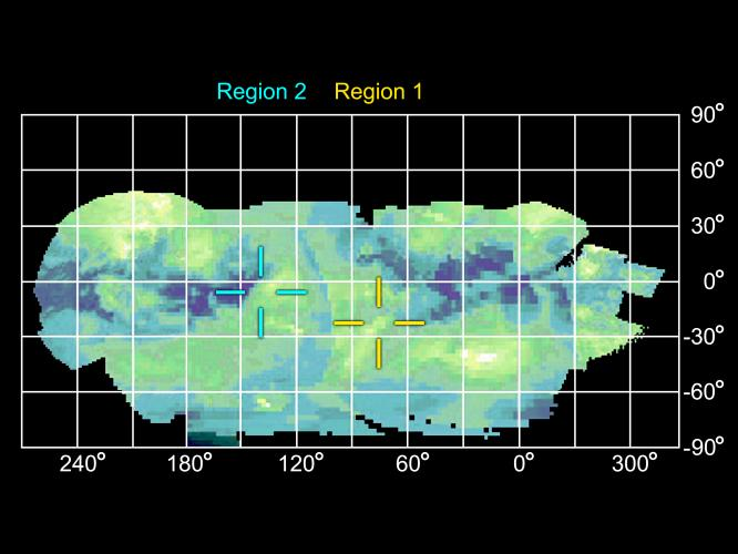 Image et coupe topographique de trois failles probables, découpant 4 «blocs basculés» sur Titan