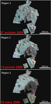 Montage de 3 images infra-rouge de Titan montrant une vaste région (500 x 500km) changeant d'aspect en 6 mois, entre octobre 2005 et mars 2006