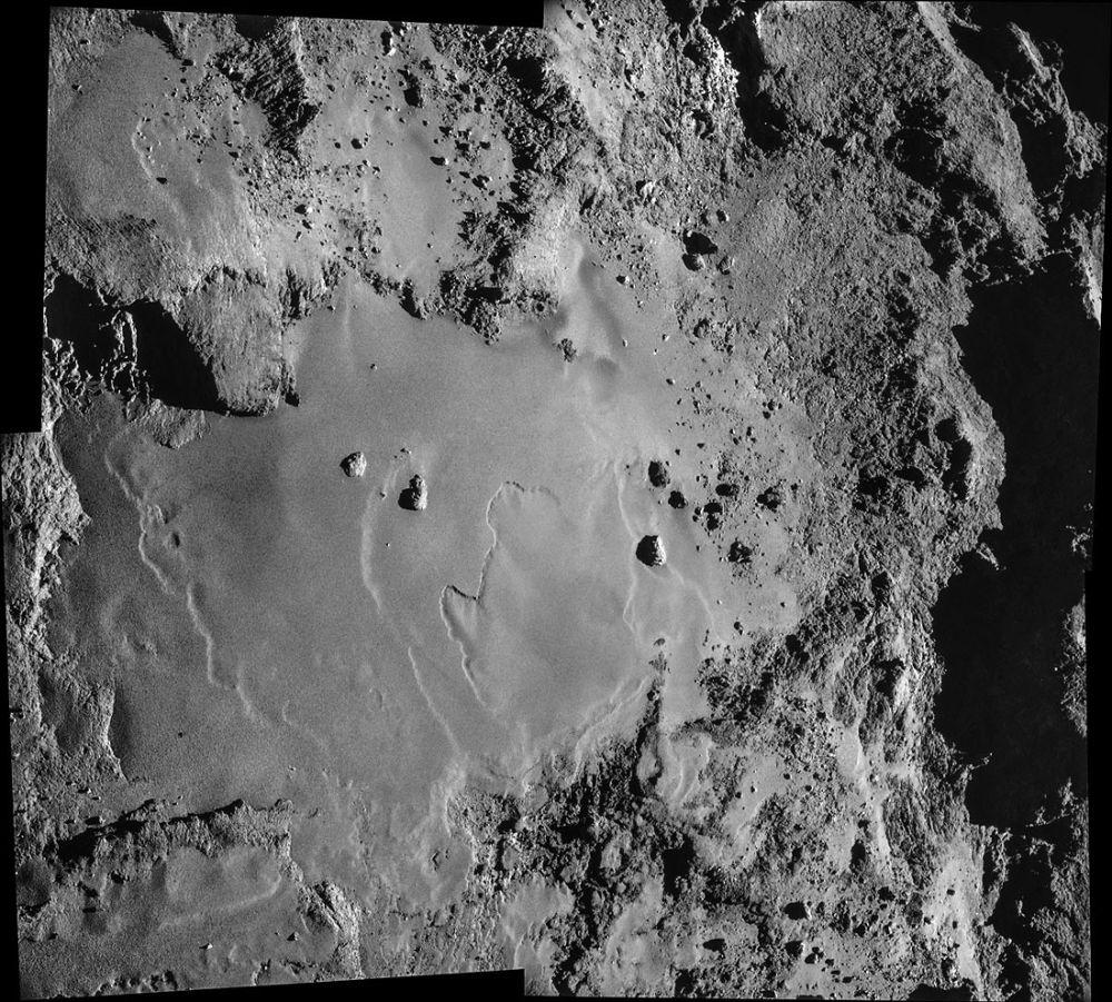 Vue verticale plus détaillée de la plaine Imhotep, sur la tête de Chury