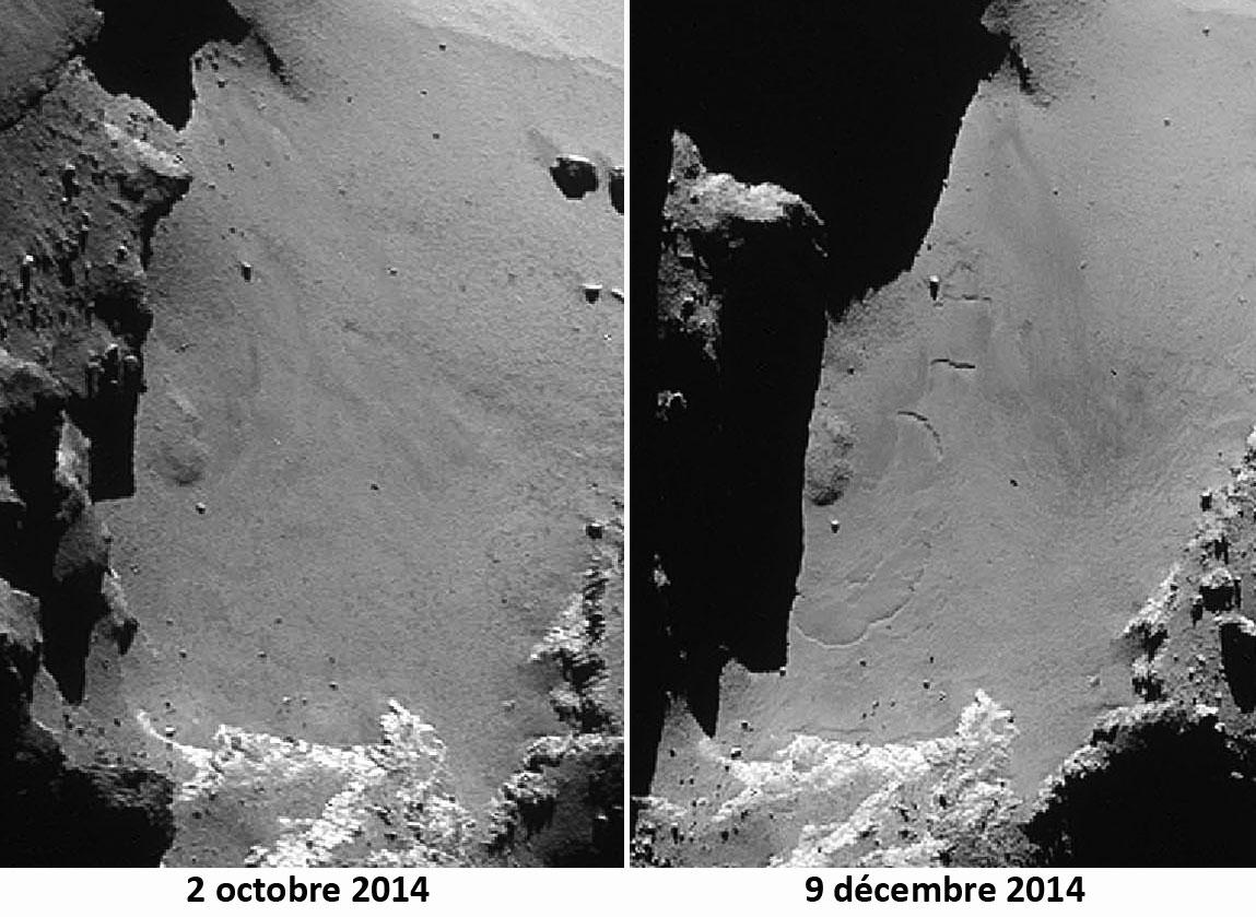 Deux images (2 octobre - 9 décembre 2014) du même secteur du cou, au pied du lobe principal de Chury, où sont apparus des sillons flexueux qui ressemblent à ceux d'Imhotep