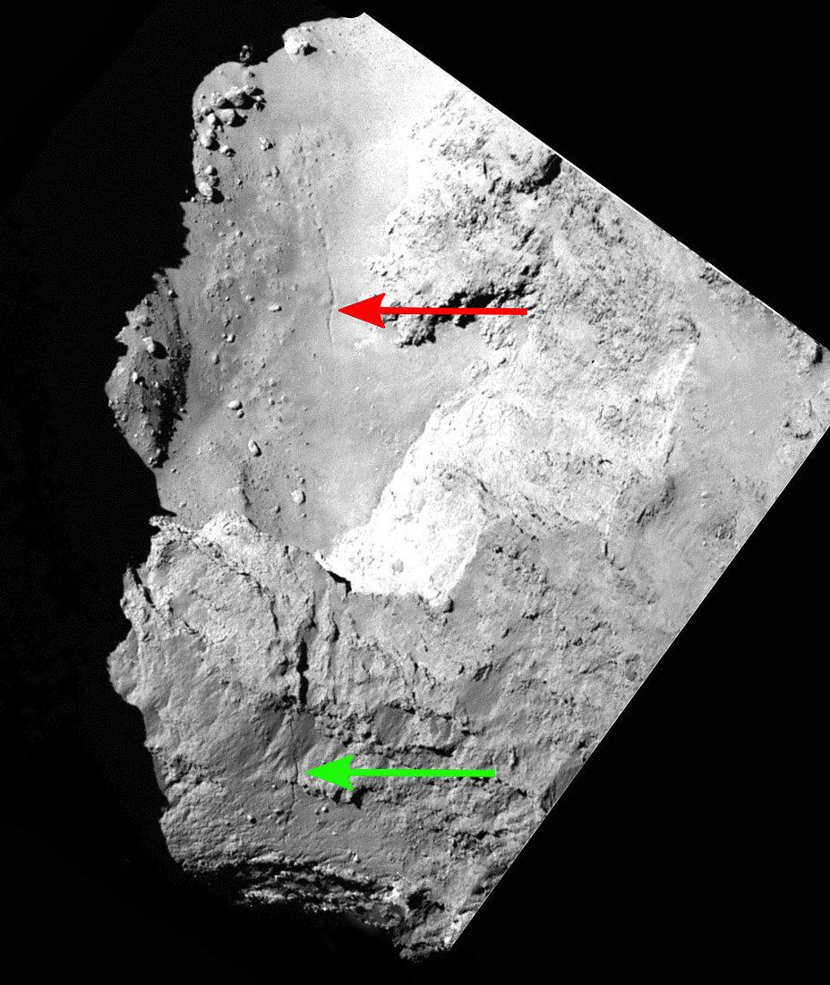 Partie d'une image OSIRIS mise en ligne le 22 janvier 2015 montrant la fracture au niveau du cou De 67P/Churyumov-Gerasimenko