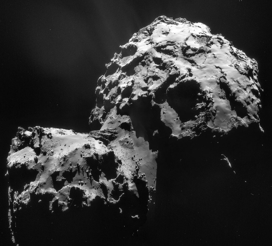 Images prises le 10 janvier 2015 d'une distance de 27,5km du centre de la comète Chury