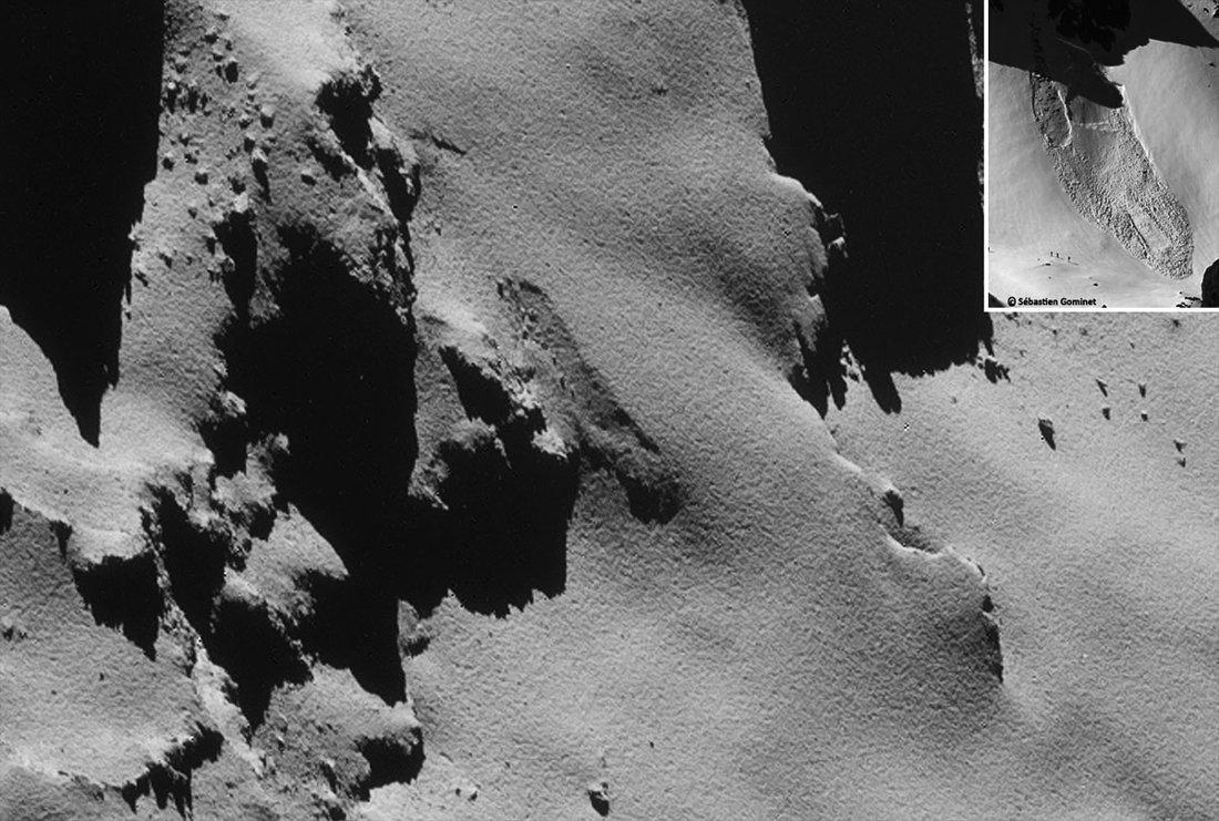 Zoom sur ce qui ressemble beaucoup à une avalanche de poudreuse sur le flanc du lobe principal de Chury recouvert de poussières (Dust Covered Terrains)