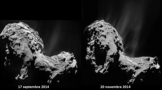 Comparaison de 2 mosaïques d'images NAVCAM prises les 19 septembre et 20 novembre 2014 depuis approximativement la même distance (29km) du centre de 67P/CG
