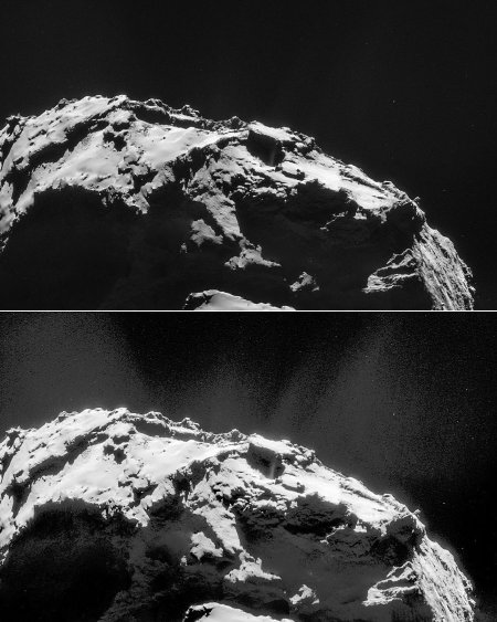 Deux traitements différents d'une même mosaïque NAVCAM du 21 janvier 2015 montrant un détail du lobe principal de Chury