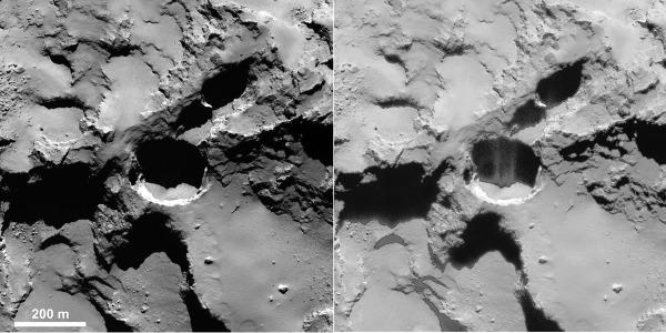Puits actif photographié par OSIRIS (caméra à champ étroit) le 28 août 2014