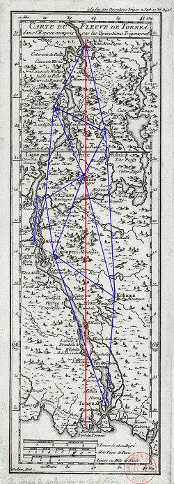 Carte du fleuve de Tornea (Laponie) le long duquel a été mesuré le degré d'arc de méridien au cercle polaire