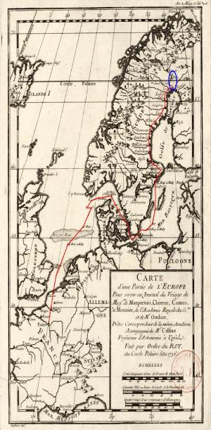 """Carte du """"voyage"""" en Laponie, trajet et région des mesures"""