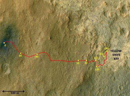Trajet de Curiosity depuis son atterrissage en août 2012 jusqu'au 10 janvier 2013 (sol 152)